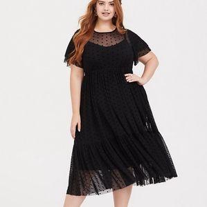 Torrid Size 2 Black Polkadot Illusion Dress